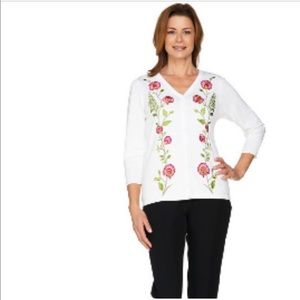 Bob Mackie Embroidered Cardigan Sweater, Size 2x